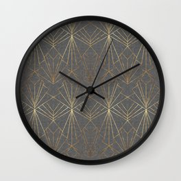 Art Deco in Gold & Grey Wall Clock
