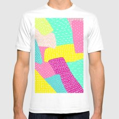 Modern summer rainbow color block hand drawn patchwork pattern illustration MEDIUM Mens Fitted Tee White