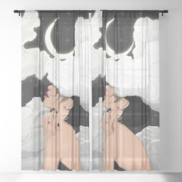 The Night Falls Sheer Curtain
