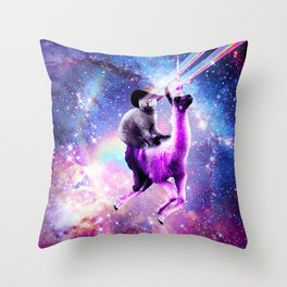 Laser Eyes Outer Space Cat Riding On Llama Unicorn Throw Pillow