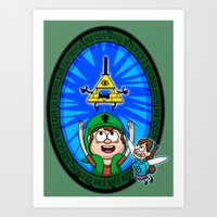 gravity falls Art Prints featuring Gravity Falls: Hyrule Falls by Macaluso