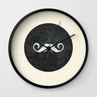 moustache Wall Clocks featuring moustache by StudioAmpersand