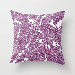 Brussels City Map II Throw Pillow