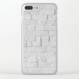 White Brick Wall (Black and White) Clear iPhone Case