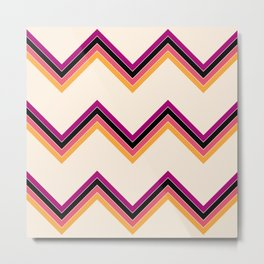 Colorful Abstract Surfing Summer Retro Stripes Pattern Epona Metal Print