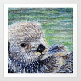Sea Otter Painting Art Print