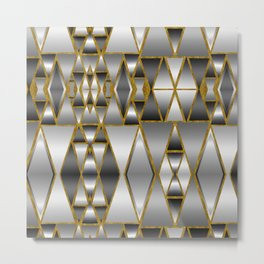 Gray Ombre Abstract Geometry Metal Print