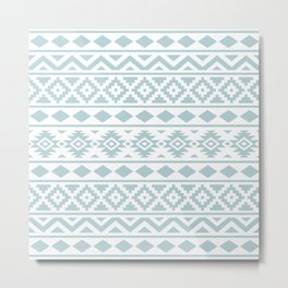 Aztec Essence Ptn III Duck Egg Blue on White Metal Print
