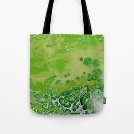Caribbean Green - Lime Green Bright Fluid Art Tote Bag
