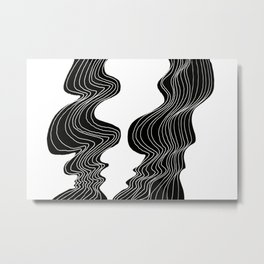 Parallel Lines No.: 02. - White Lines Metal Print