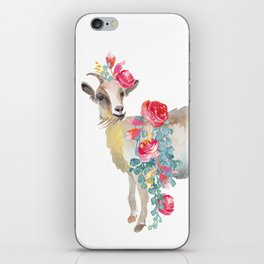 goat with flower crown iPhone Skin