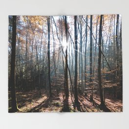 Light Shining in the Forest Throw Blanket