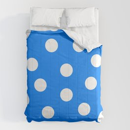 Polka Dots - Azure and White Comforters