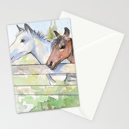 Horses Watercolor Sketch Barn Animals Horse Stationery Cards