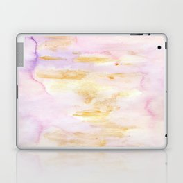 Modern Pink and Gold Watercolor Brush Strokes Laptop & iPad Skin