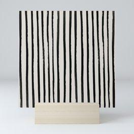 Vertical Black and White Watercolor Stripes Mini Art Print