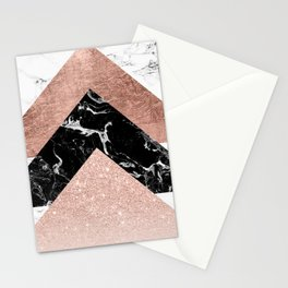 Modern rose gold glitter foil black white marble geometric minimalist triangles color block Stationery Cards