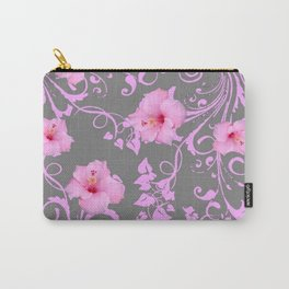 DECORATIVE  PINK AMARYLLIS BROCADE FLORAL GREY ART Carry-All Pouch
