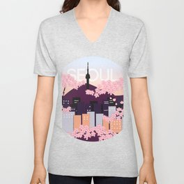 Seoul Tower with Cherry Blossoms Woodblock Style Souvenir Print Unisex V-Neck