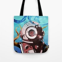 diver Tote Bags featuring Diver by Tony Vazquez