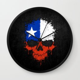 Flag of Chile on a Chaotic Splatter Skull Wall Clock