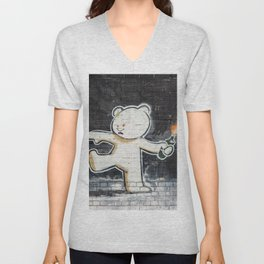 Banksy's Big Bad Bear Unisex V-Neck