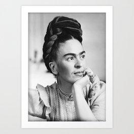 Frida Kahlo, Black and White Vintage Art Art Print