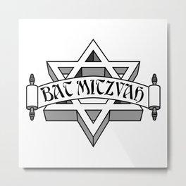 Bat Mitzvah with silver scroll &  Star of David  Metal Print