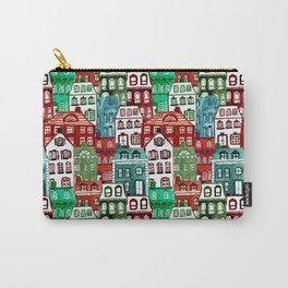 Christmas Village in Watercolor Red + Green Carry-All Pouch
