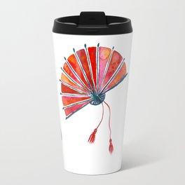 Red oriental fans Travel Mug