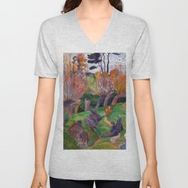 1889 - Gauguin - Brittany Landscape with cows Unisex V-Neck