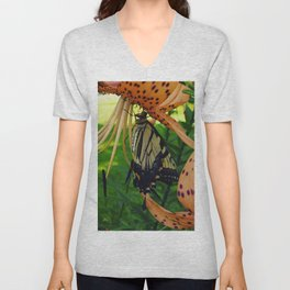 The Swallowtail and The Tiger Lily Unisex V-Neck