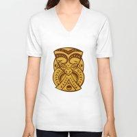 maori V-neck T-shirts featuring Maori Mask Woodcut by patrimonio