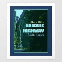 Enchanted Needles Highway Retro Travel Art Print
