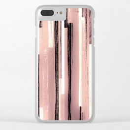 Black Old rose Pastel Stripes Clear iPhone Case