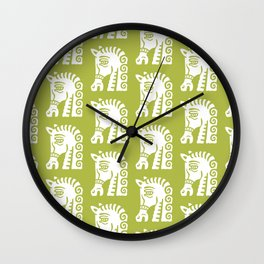 Mid Century Horse Pattern Green Wall Clock