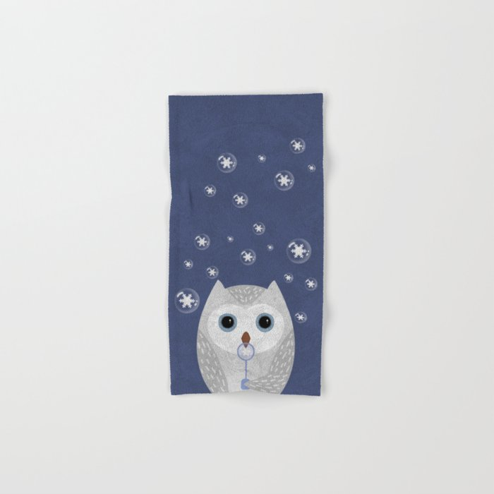 Christmas Owl Blue Marble Hand & Bath Towel