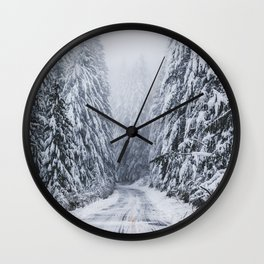 Snowy Oregon Forest Roads Wall Clock