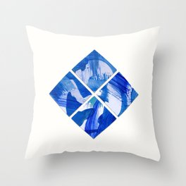 Chinoiserie Diamond Blue and White Cubism Square Tiles Throw Pillow