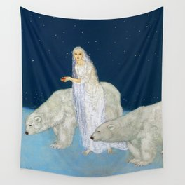 The Bride and the Polar Bears, The Ice Maiden fairy tale portrait painting by Edmund Dulac   Wall Tapestry