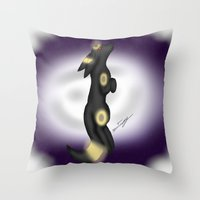 umbreon Throw Pillows featuring moonlit Umbreon by Agentsassy
