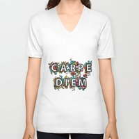 carpe diem V-neck T-shirts featuring Carpe Diem by Digi Treats 2