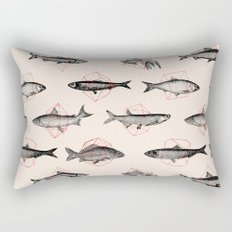 Fishes In Geometrics (Red) Rectangular Pillow