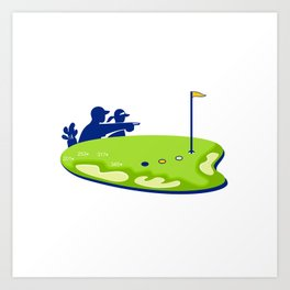 Golfer Caddie Golf Course Retro Art Print