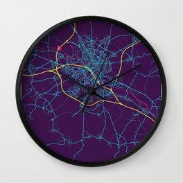 Reims Neon City Map, Reims Minimalist City Map Art Print Wall Clock