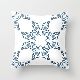 Blue Floral Heart Tile Throw Pillow