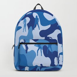 Sexy Girl on Navy Military Camo Backpack