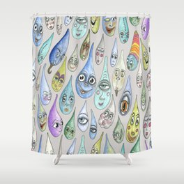 raindrops with personality, cool light gray grey Shower Curtain