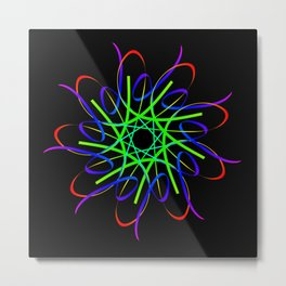 Guilloche red and galactic signs. Four neon objects for a certificate or a voucher. Metal Print
