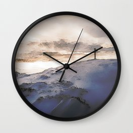 Christian Cross On Mountain Wall Clock
